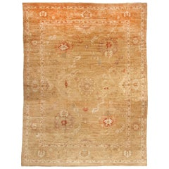 New Oushak Design Transitional Tan and Red Wool Rug