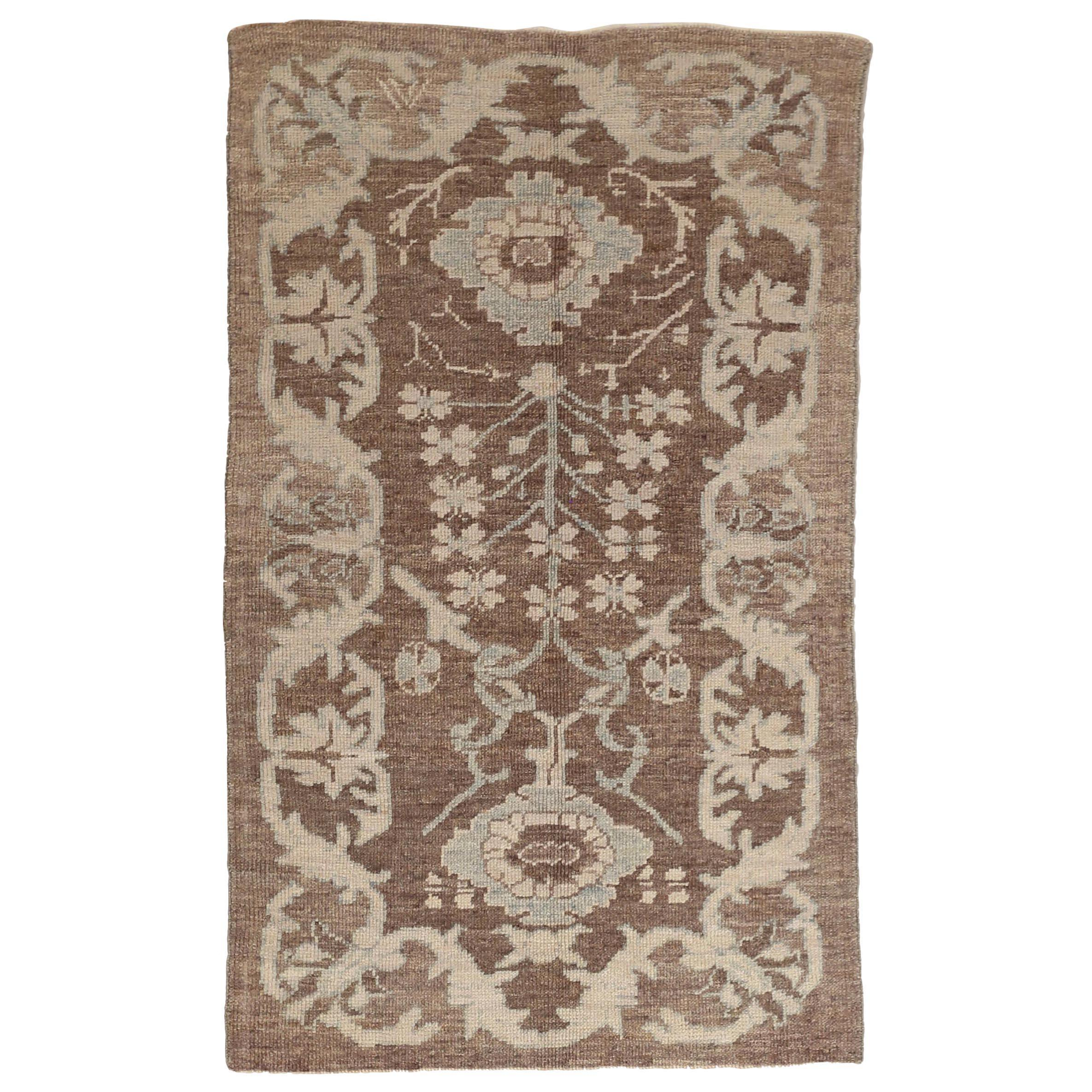 New Oushak Persian Rug with Floral Field and Border in Ivory and Blue