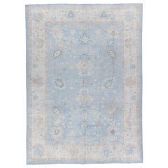 New Oushak Rug Soft Blue Wool Hand Woven in Turkey