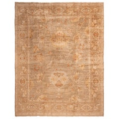 New Oushak Transitional Brown Wool Floral Rug with 19th Century Inspiration