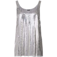 New Paco Rabanne Silver Asymmetric Metal Mesh Top FR36 US2