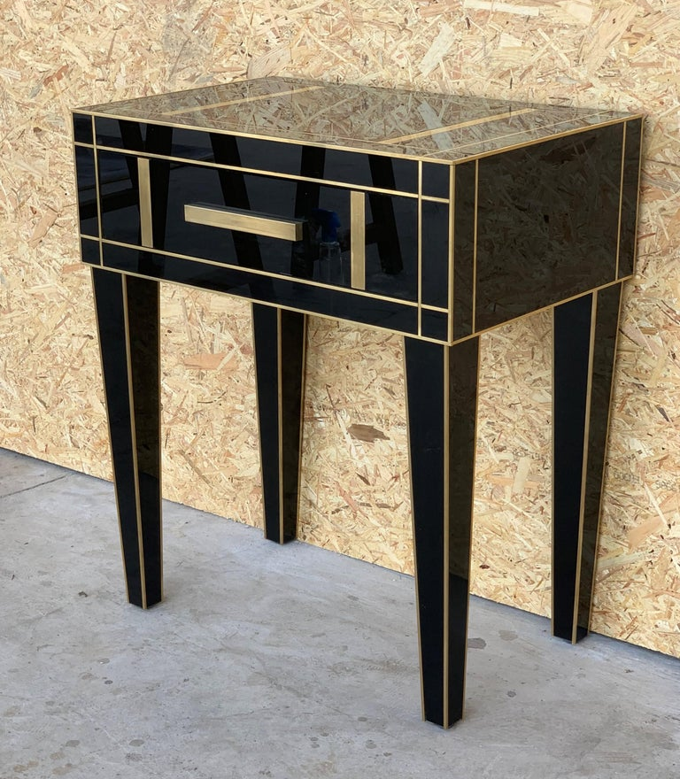 Art Deco New Pair Mirrored Nightstand in Black Mirror and Chrome with Drawer