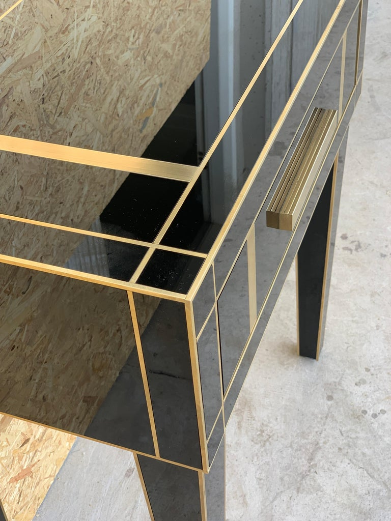 Brass New Pair Mirrored Nightstand in Black Mirror and Chrome with Drawer