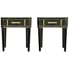 New Pair Mirrored Nightstand in Black Mirror and Chrome with Drawer