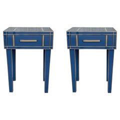 New Pair Mirrored Nightstand in Blue Mirror and Chrome with Drawer