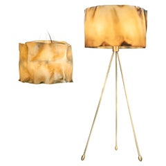 New Pair of Floor Lamp and Suspension Lamp in Resin Finished in Aged Natural