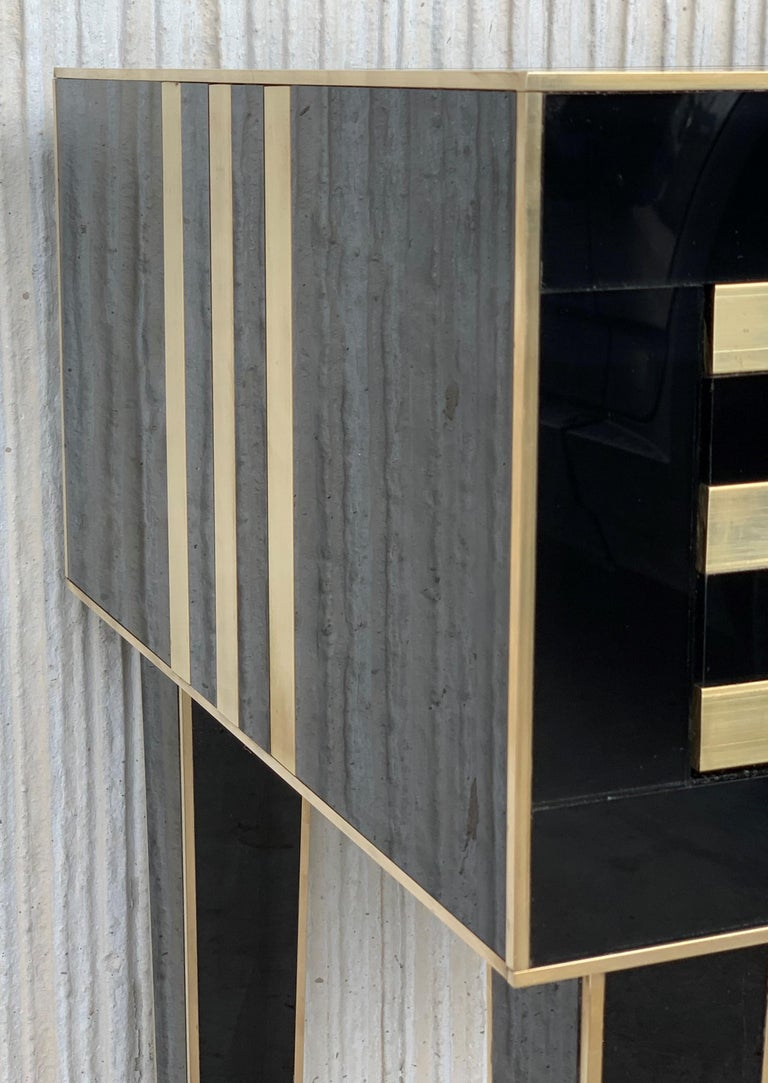 New Pair of High Black and Brass Nightstands with Drawer, Push System Opening For Sale 4