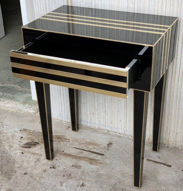 New Pair of High Black and Brass Nightstands with Drawer, Push System Opening For Sale 5