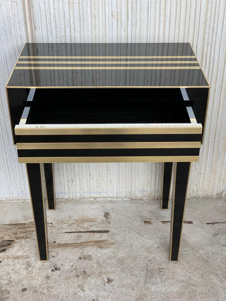 New Pair of High Black and Brass Nightstands with Drawer, Push System Opening For Sale 6