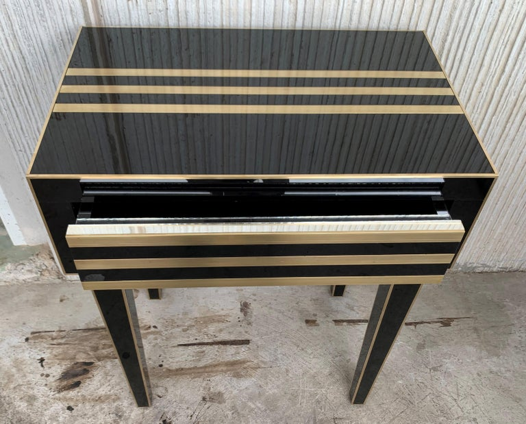 New Pair of High Black and Brass Nightstands with Drawer, Push System Opening For Sale 7