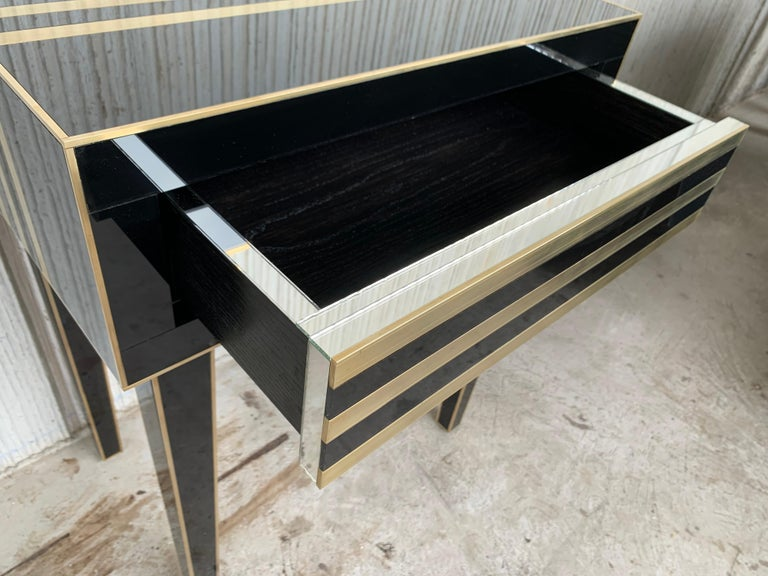 New Pair of High Black and Brass Nightstands with Drawer, Push System Opening For Sale 8