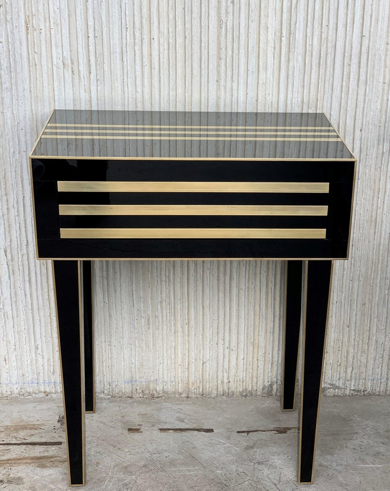 Modern New Pair of High Black and Brass Nightstands with Drawer, Push System Opening For Sale