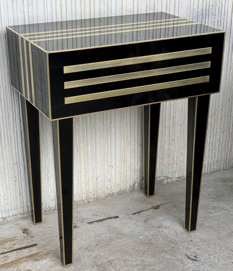 Spanish New Pair of High Black and Brass Nightstands with Drawer, Push System Opening For Sale