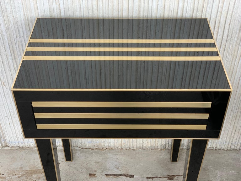 Contemporary New Pair of High Black and Brass Nightstands with Drawer, Push System Opening For Sale