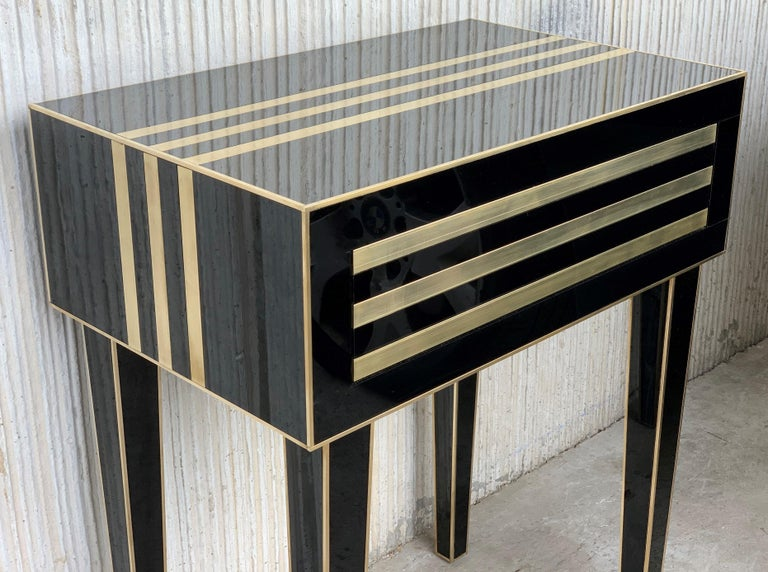 New Pair of High Black and Brass Nightstands with Drawer, Push System Opening For Sale 1
