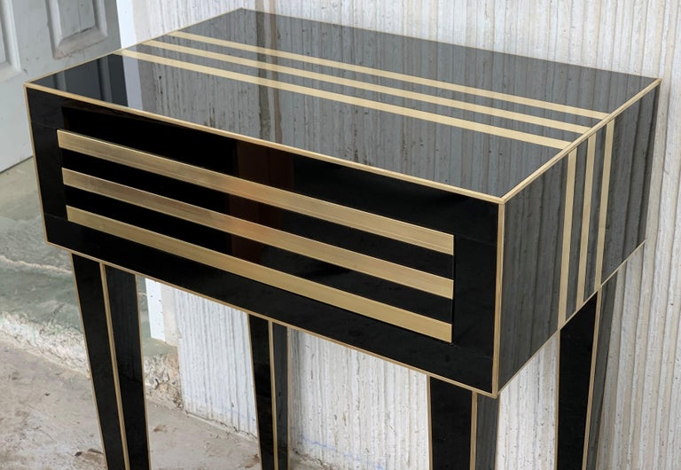 New Pair of High Black and Brass Nightstands with Drawer, Push System Opening For Sale 2