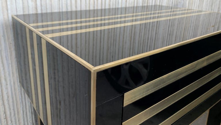 New Pair of High Black and Brass Nightstands with Drawer, Push System Opening For Sale 3
