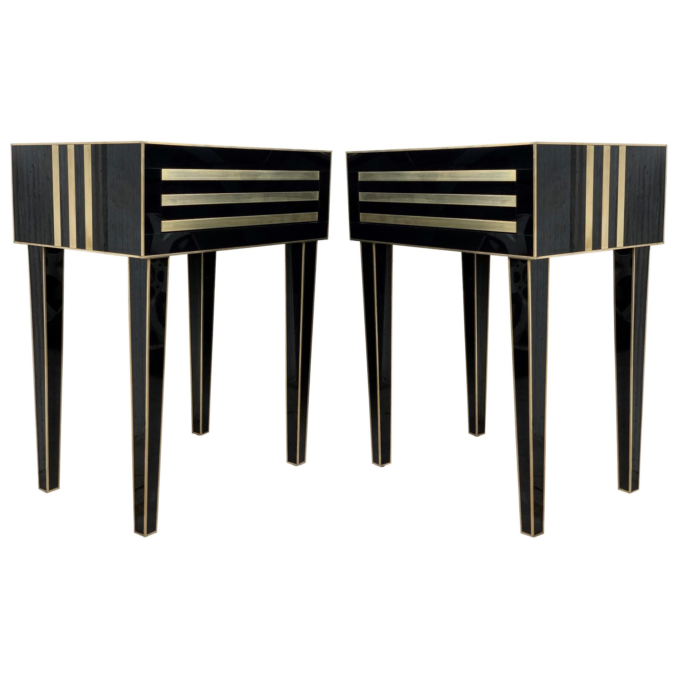 New Pair of High Black and Brass Nightstands with Drawer, Push System Opening