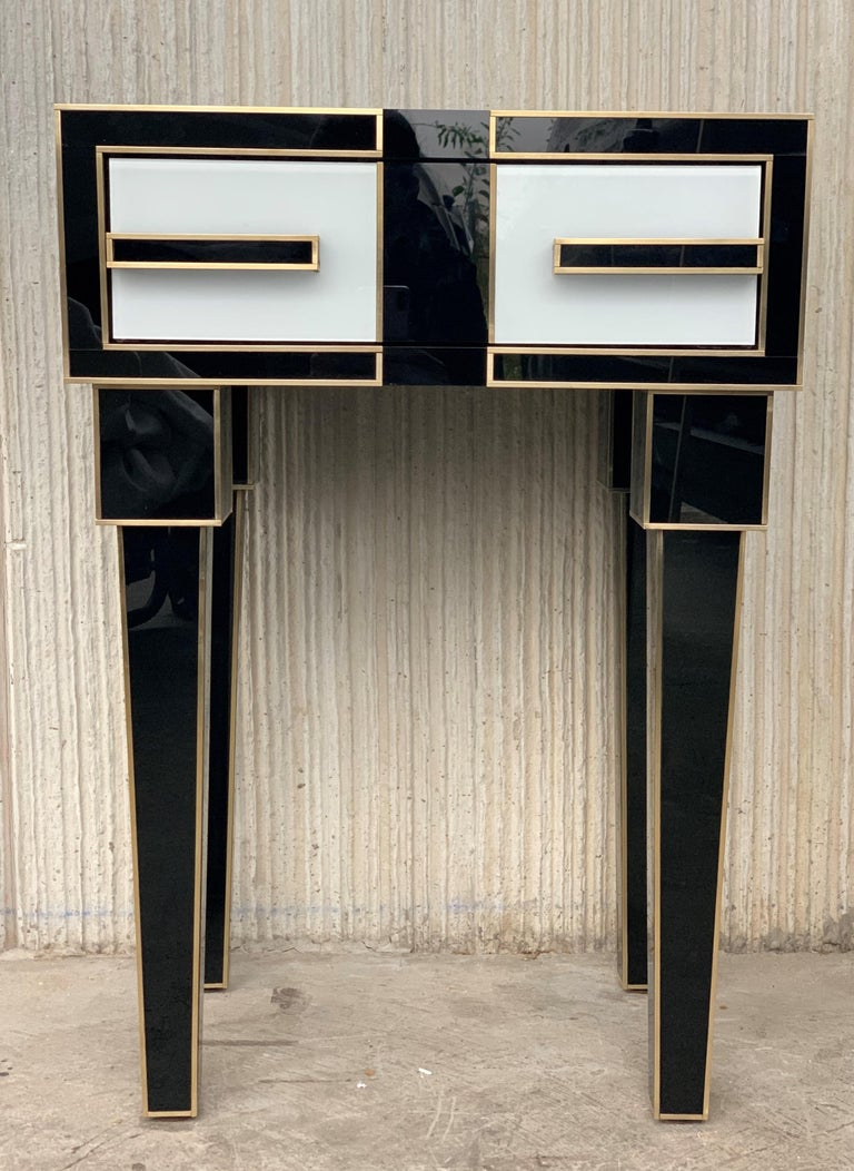 New Pair of High Black & White Glass & Brass Nightstands with Drawer For Sale 7