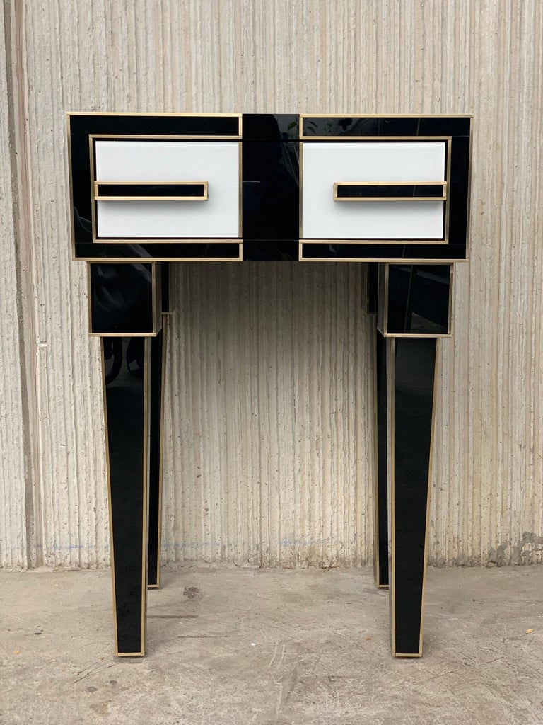 New pair of mirrored and brass nightstands with one-drawer in black and white, 20th century