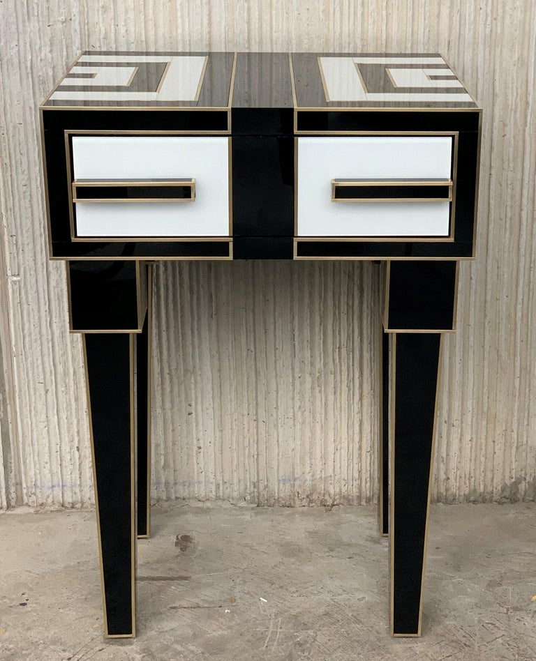 Modern New Pair of High Black & White Glass & Brass Nightstands with Drawer For Sale