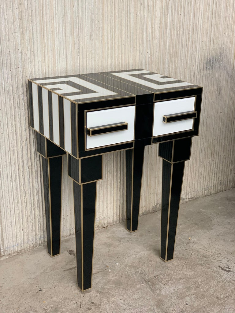 Spanish New Pair of High Black & White Glass & Brass Nightstands with Drawer For Sale