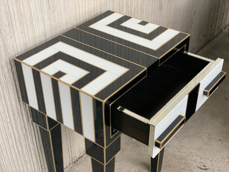 New Pair of High Black & White Glass & Brass Nightstands with Drawer For Sale 2