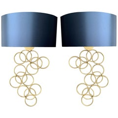 Pair of Metal Gold Sconces with Blue Silk Shade