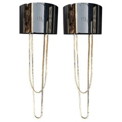 Pair of Metal Gold Sconces with Metal Black Chromed Shade