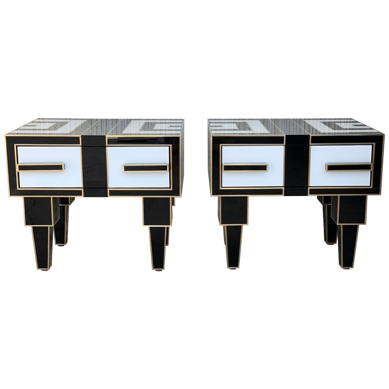 New Pair of Mirrored & Brass Nightstands with One-Drawer in Black & White Glass For Sale
