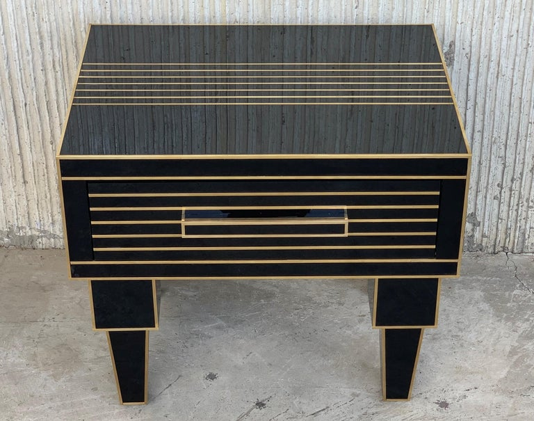 Art Deco New Pair of Mirrored Low Nightstand in Black Mirror and Chrome with Drawer For Sale