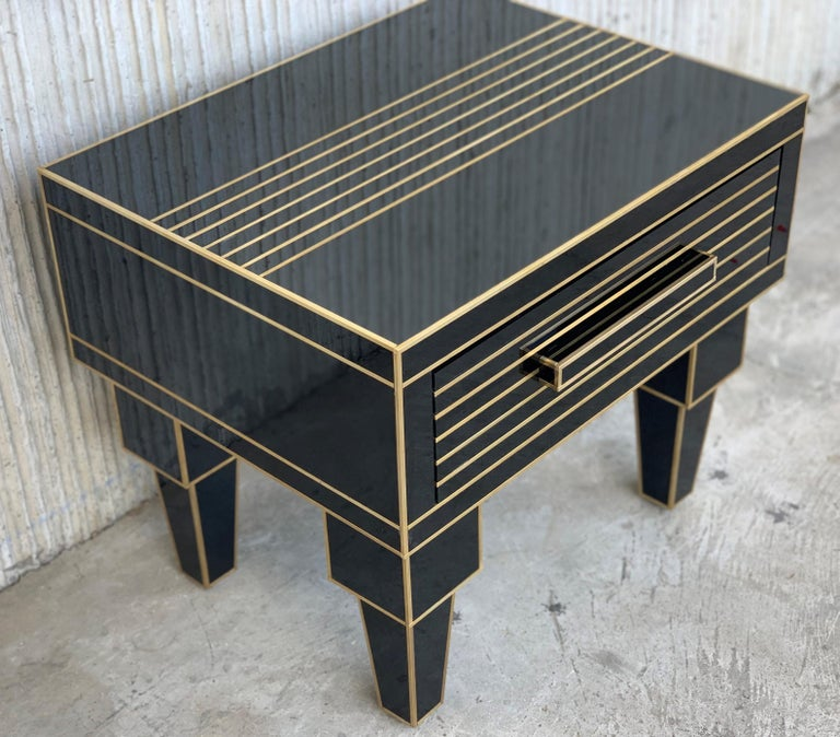 Spanish New Pair of Mirrored Low Nightstand in Black Mirror and Chrome with Drawer For Sale