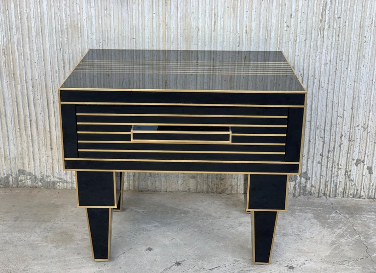 New Pair of Mirrored Low Nightstand in Black Mirror and Chrome with Drawer For Sale 1
