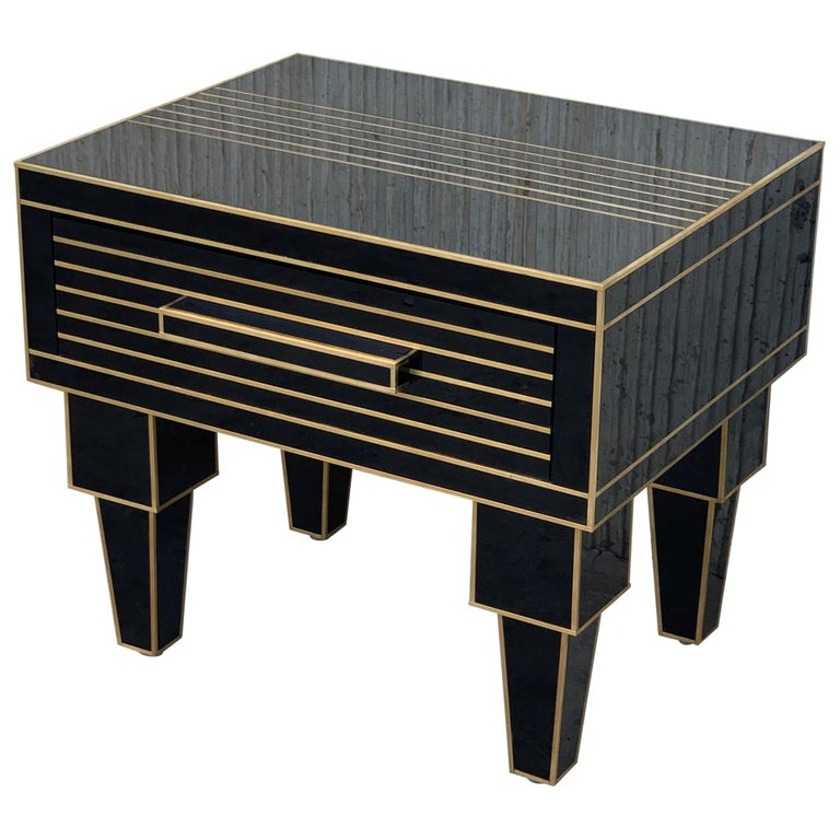 New Pair of Mirrored Low Nightstand in Black Mirror and Chrome with Drawer For Sale