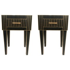 New Pair of Mirrored Nightstands in Black Mirror and Chrome