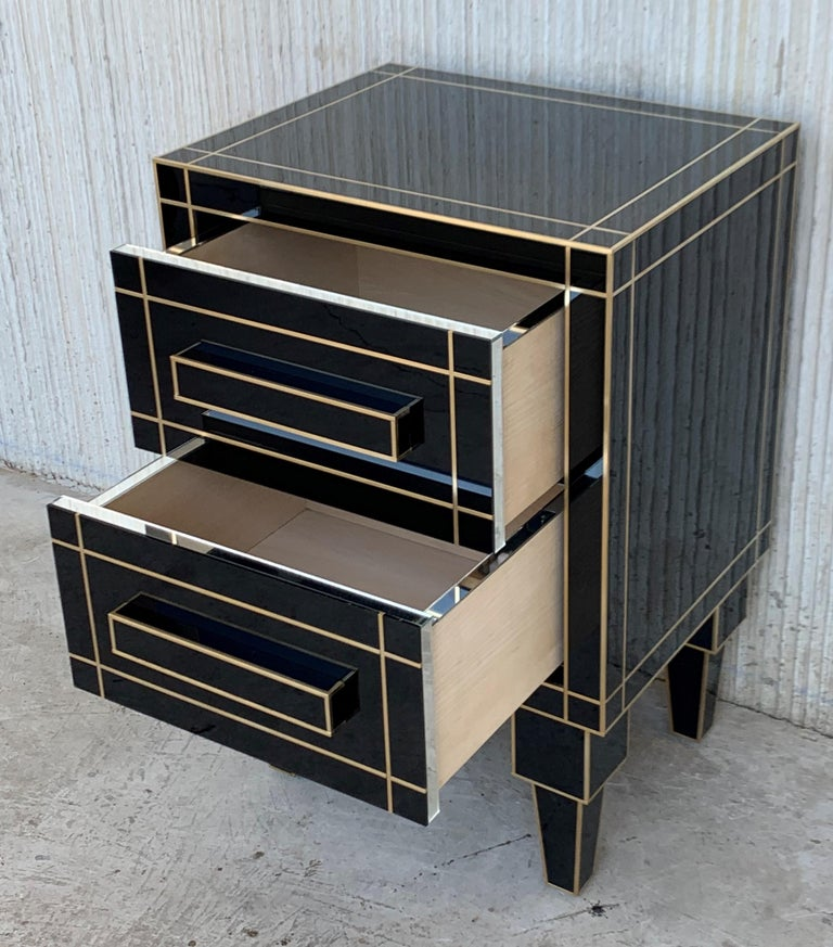New Pair of Mirrored Nightstands in Black Mirror with Two Drawers For Sale 3