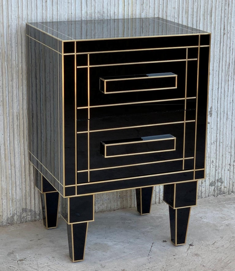 Art Deco New Pair of Mirrored Nightstands in Black Mirror with Two Drawers For Sale
