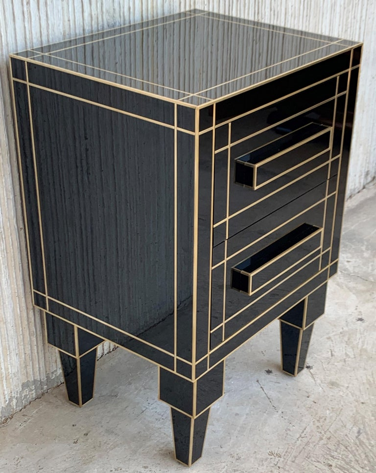 Spanish New Pair of Mirrored Nightstands in Black Mirror with Two Drawers For Sale