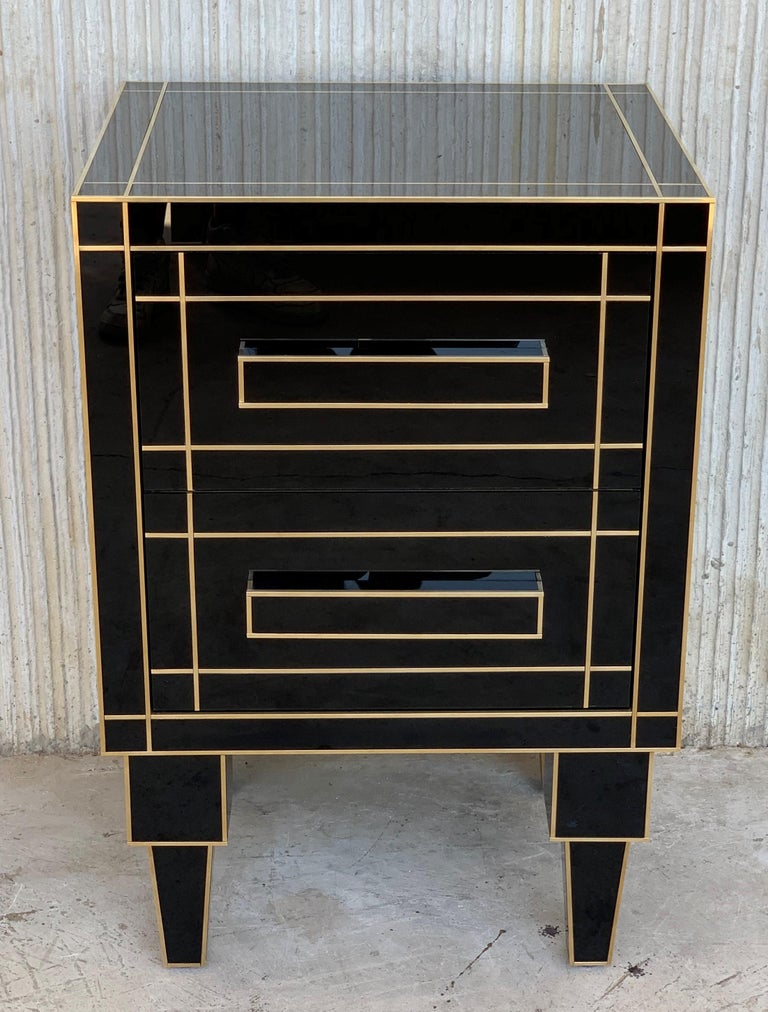 New Pair of Mirrored Nightstands in Black Mirror with Two Drawers In Excellent Condition For Sale In Miami, FL