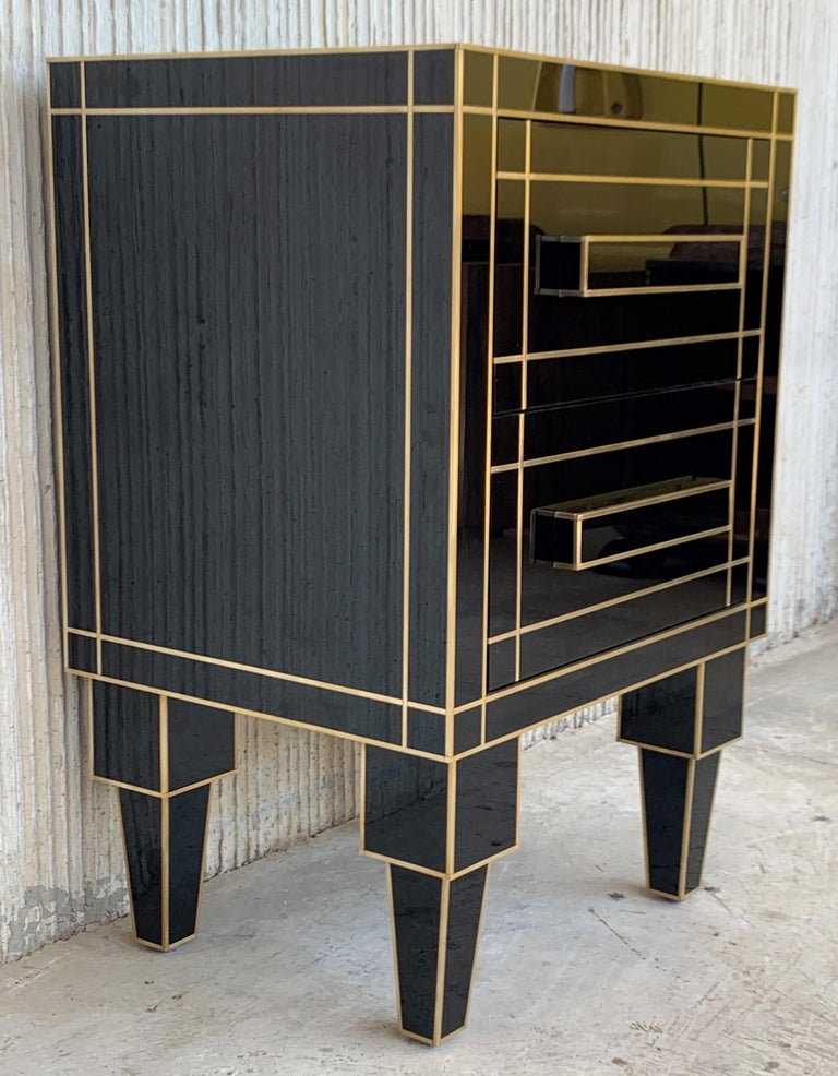 Brass New Pair of Mirrored Nightstands in Black Mirror with Two Drawers For Sale