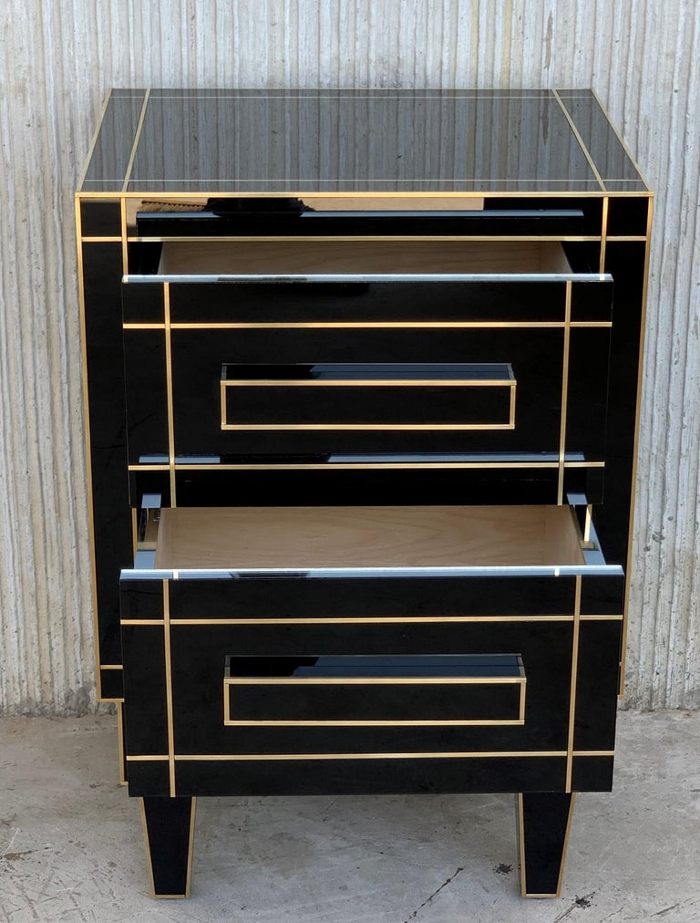New Pair of Mirrored Nightstands in Black Mirror with Two Drawers For Sale 1