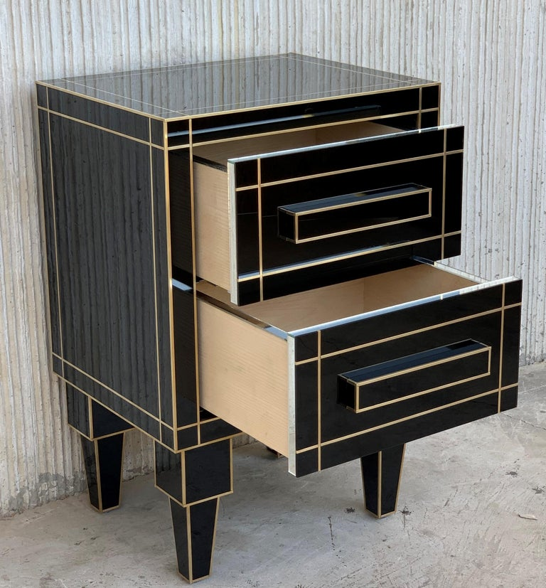 New Pair of Mirrored Nightstands in Black Mirror with Two Drawers For Sale 2