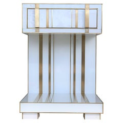New Pair of White and Brass Nightstands with Drawer and Low Shelve