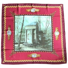 New Patek Philippe 1990s Novelty Watch Print 34 x 34 Vintage Silk Scarf with Box