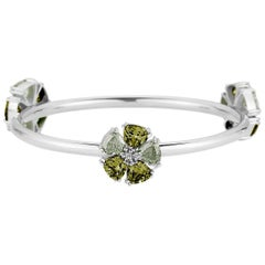 New Peridot and Olive Peridot Triple Blossom Mixed Stone Bangle Bracelet