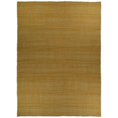 New Persian Flat-Weave Kilim Style Rug with Brown & White Details on Gold Field