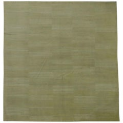 New Persian Flat-Weave Kilim Style Rug with Ivory Stripes on Green Field