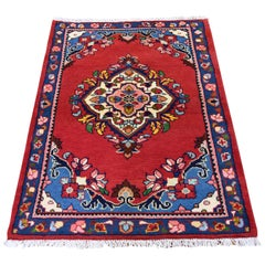 Persian Hamadan Pure Wool Red Hand Knotted Oriental Rug