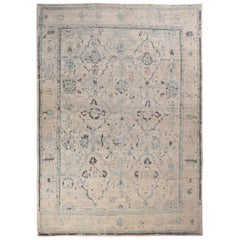 New Persian Oushak Style Rug with Blue and Gray Floral Details on Ivory Field