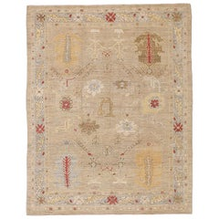 New Persian Oushak Style Rug with Colored Botanical Details on Beige Field